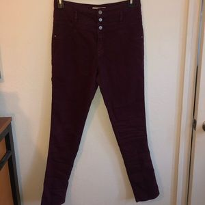 Maroon High-Waisted Jeans